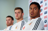 24 June 2013; Manu Tuilagi, right, Dan Lydiate, centre, and Sean O'Brien, left, British & Irish Lions, during a press conference ahead of their match against Melbourne Rebels on Tuesday. British & Irish Lions Tour 2013, Press Conference. AAMI Park, Olympic Boulevard, Melbourne, Australia. Picture credit: Stephen McCarthy / SPORTSFILE