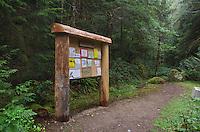 Trailhead signpost, Suiattle River Trail, Glacier Peak Wilderness, Washington