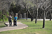Cody and Karissa Kell take a walk with their 8-month-old daughter Audrey and dog, Kyra, at the Spring Creek Nature Area in Richardson on Friday, March 15, 2013. (Cooper Neill/The Dallas Morning News)