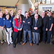 Jonathan Clark, Art Thompson, Felix Baumgartner,  Joe Kittinger and others from the Stratos team pose for a portrait at The Smithsonian National Air and Space Museum in Washington, D.C., USA on 1 April, 2014.