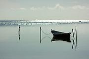 Boat moored on calm morning on Kaneohe Bay, Hawaii