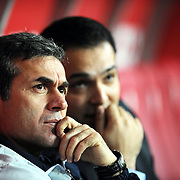 Fenerbahce's coach Aykut KOCAMAN (L) during their Turkish superleague soccer derby match Galatasaray between Fenerbahce at the Turk Telekom Arena in Istanbul Turkey on Friday, 18 March 2011. Photo by TURKPIX