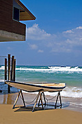 Life guard booth and flat top rescue boat, Tel Aviv, Israel