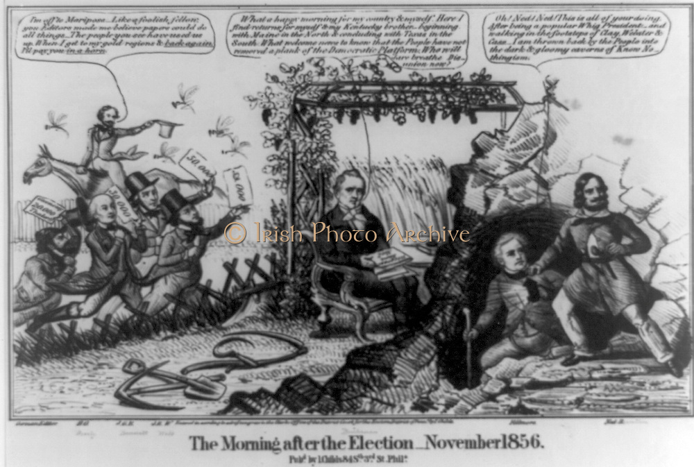 The Morning After the Election 1856. Victorious James Buchanan sits under a trellis of grape vines, holding reports of election returns on his lap. John L. Childs