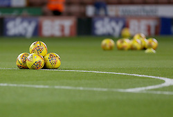 Football's stacked up on the Sheffield United pitch,  Bramall Lane