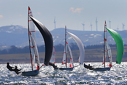Image Credit Marc Turner..29er Fleet downwind..Day 3 RYA Youth National Championships 2013 held at Largs Sailing Club, Scotland from the 31st March - 5th April. .Sailors Launching..For Further Information Contact..Matt Carter.Racing Communications Officer.Royal Yachting Association.M: 07769 505203.E: matt.carter@rya.org.uk ..Image Credit Marc Turner / RYA.