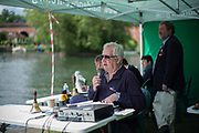 """Maidenhead. Berkshire. United Kingdom. <br /> <br /> Self Styled,  """"Voice of the Rowing"""" Robert TREHERNE JONES, commentating at the 2017 Maidenhead Junior Regatta  River Thames. <br /> <br /> [©Peter SPURRIER/Intersport Images] Sunday. 14.05.2017"""