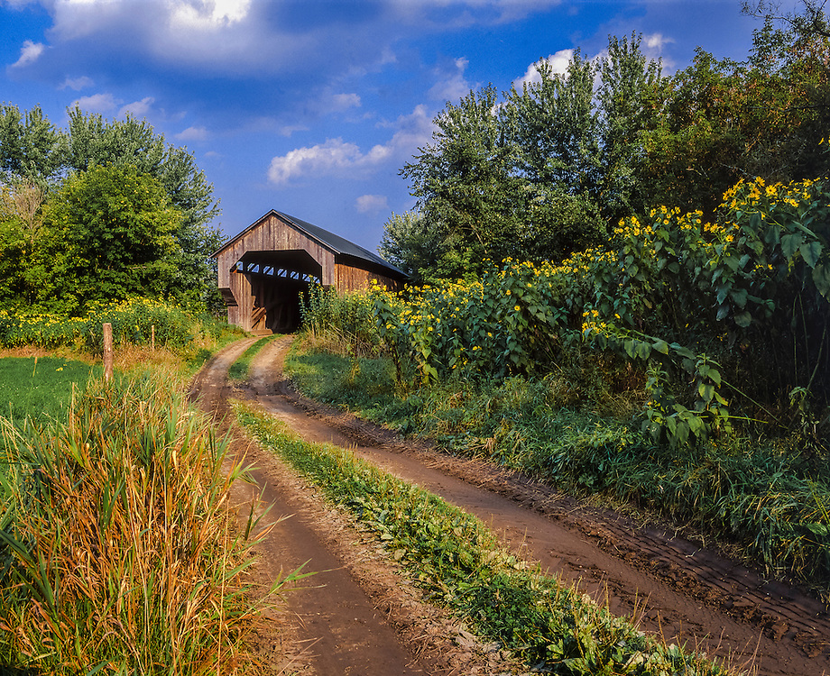 Gates Farm Covered Bridge & seldom used country road in summer, Cambridge, VT