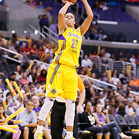 03 August 2014: Los Angeles Sparks guard Kristi Toliver (20) takes a jump shot during the Los Angeles Sparks 70-69 victory over the Connecticut Sun, at the Staples Center, Los Angeles, California, USA.