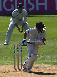 April 20, 2018 - London, Greater London, United Kingdom - Surrey's Rory Burns.during Specsavers County Championship - Division One, day one match between Surrey CCC and Hampshire CCC at Kia Oval, London, England on 20 April 2018. (Credit Image: © Kieran Galvin/NurPhoto via ZUMA Press)