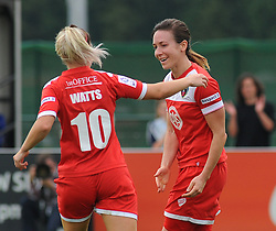 Bristol Academy Womens' Corinne Yorston celebrates her goal with Bristol Academy Womens' Nicola Watts  - Photo mandatory by-line: Dougie Allward/JMP - Mobile: 07966 386802 - 28/09/2014 - SPORT - Women's Football - Bristol - SGS Wise Campus - Bristol Academy Women's v Manchester City Women's - Women's Super League