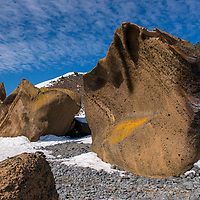 Giant sculptural boulders on the beach at Brown Bluff in Antarctica.