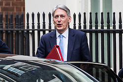 London, UK. 29th January, 2019. Philip Hammond MP, Chancellor of the Exchequer, leaves 10 Downing Street to answer questions in the House of Commons following a Cabinet meeting on the day of votes in Parliament on amendments to Prime Minister Theresa May's final Brexit withdrawal agreement which could determine the content of the next stage of negotiations with the European Union.