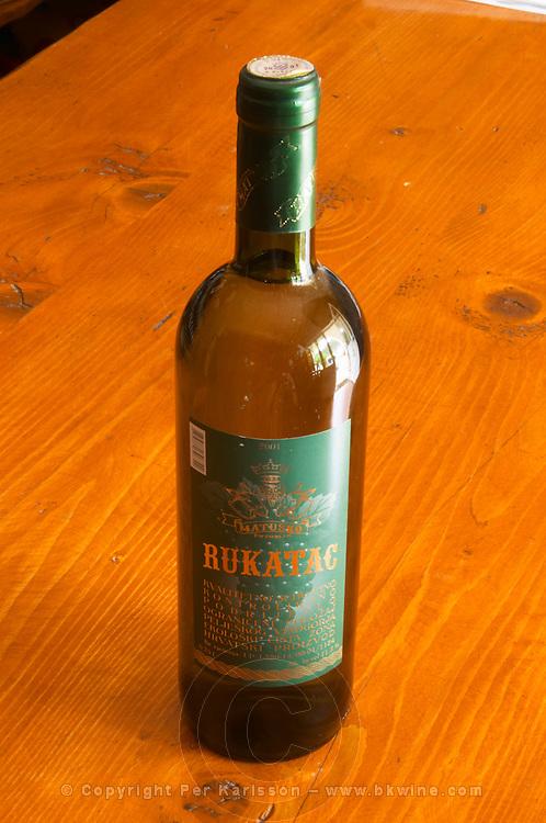 Bottle of Rukatac wine. Matusko Winery. Potomje village, Dingac wine region, Peljesac peninsula. Matusko Winery. Dingac village and region. Peljesac peninsula. Dalmatian Coast, Croatia, Europe.