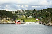 Rural coastal settlement houses north of Bergen, Norway