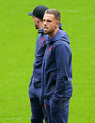 England's Jordan Henderson inspects the pitch before the UEFA Euro 2020 Group D match at Wembley Stadium, London. Picture date: Tuesday June 22, 2021.
