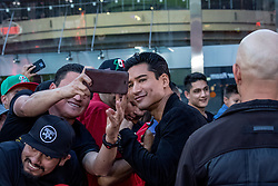 LOS ANGELES, CA - MARCH 2: American television host and actor Mario Lopez attends Canelo vs Khan press conference at Universal CityWalk - Five Towers Stage on March 2, 2016 in Los Angeles. Canelo vs. Khan, a 12-round fight for Canelo's WBC, Ring Magazine and Lineal Middleweight World Championships, is promoted by Golden Boy Promotions in association with Canelo Promotions and sponsored by Cerveza Tecate, BORN BOLD, O'Reilly Auto Parts and Casa Mexico Tequila. The mega-event will take place on Saturday, May 7 at T-Mobile Arena in Las Vegas and will be produced and distributed live by HBO Pay-Per-View beginning at 9:00 p.m. ET/6:00 p.m. PT. Byline, credit, TV usage, web usage or linkback must read SILVEXPHOTO.COM. Failure to byline correctly will incur double the agreed fee. Tel: +1 714 504 6870.