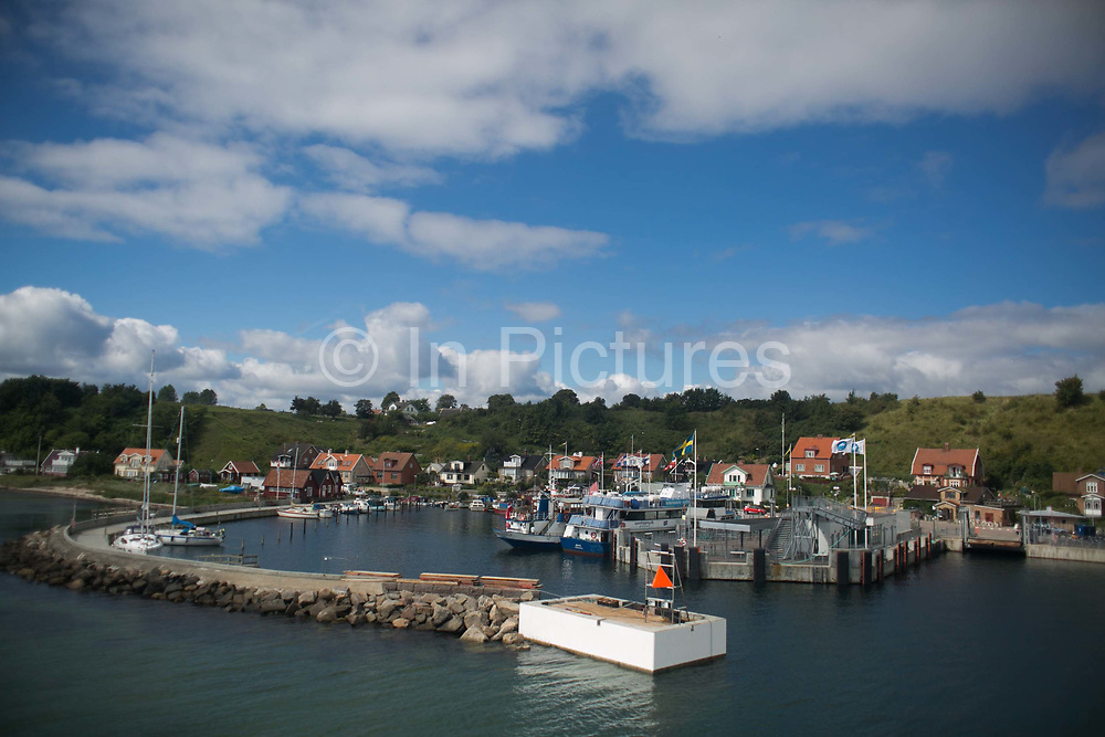 The ferry arrives into Bäckviken on Ven from Lanskrona, Sweden, 23rd of August 2016. Ven is a small island in the straight between Sweden and Denmark. It was the home of the astronomer Tycho Brahe in the 17th century, given to him by the Dansih king of the time, Fredrik ll.