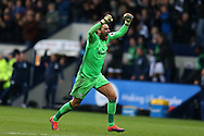 West Bromwich Albion goalkeeper Ben Foster celebrates after his teammate Nacer Chadli scores his teams 1st goal.  Premier league match, West Bromwich Albion v Tottenham Hotspur at the Hawthorns stadium in West Bromwich, Midlands on Saturday 15th October 2016. pic by Andrew Orchard, Andrew Orchard sports photography.