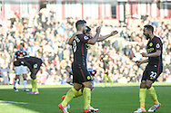 Manchester City striker Sergio Aguero celebrates scoring a goal making it 2-1 during the Premier League match between Burnley and Manchester City at Turf Moor, Burnley, England on 26 November 2016. Photo by Pete Burns.