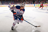 PENTICTON, CANADA - SEPTEMBER 8: Ziyat Paigin #92 of Edmonton Oilers skate with the puck against the Calgary Flames on September 8, 2017 at the South Okanagan Event Centre in Penticton, British Columbia, Canada.  (Photo by Marissa Baecker/Shoot the Breeze)  *** Local Caption ***