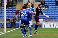 Cardiff City's Kadeem Harris (24) celebrates with teammate Rhys Healey (37) after he scores his teams 1st goal. EFL Skybet championship match, Cardiff city v Rotherham Utd at the Cardiff city stadium in Cardiff, South Wales on Saturday 18th February 2017.<br /> pic by Carl Robertson, Andrew Orchard sports photography.