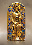 Medieval relief panel depicting Christ, Enamel on gold from Limoges, circa 1220-1230. Inv OA 11935, The Louvre Museum, Paris.
