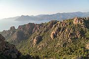 View of high, extreme mountains, Calanches de Piana, Corsica, France