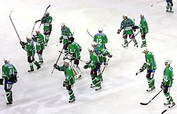 The end of 39th Round of EBEL League ice hockey match between HDD Tilia Olimpija and Acroni Jesenice, on December 30, 2008, in Arena Tivoli, Ljubljana, Slovenia. Tilia Olimpija won 4:3. (Photo by Vid Ponikvar / SportIda).