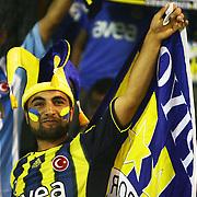 Fenerbahce's supporter shows flag during their Turkish Super Cup 2012 soccer derby match Galatasaray between Fenerbahce at the Kazim Karabekir stadium in Erzurum Turkey on Sunday, 12 August 2012. Photo by TURKPIX