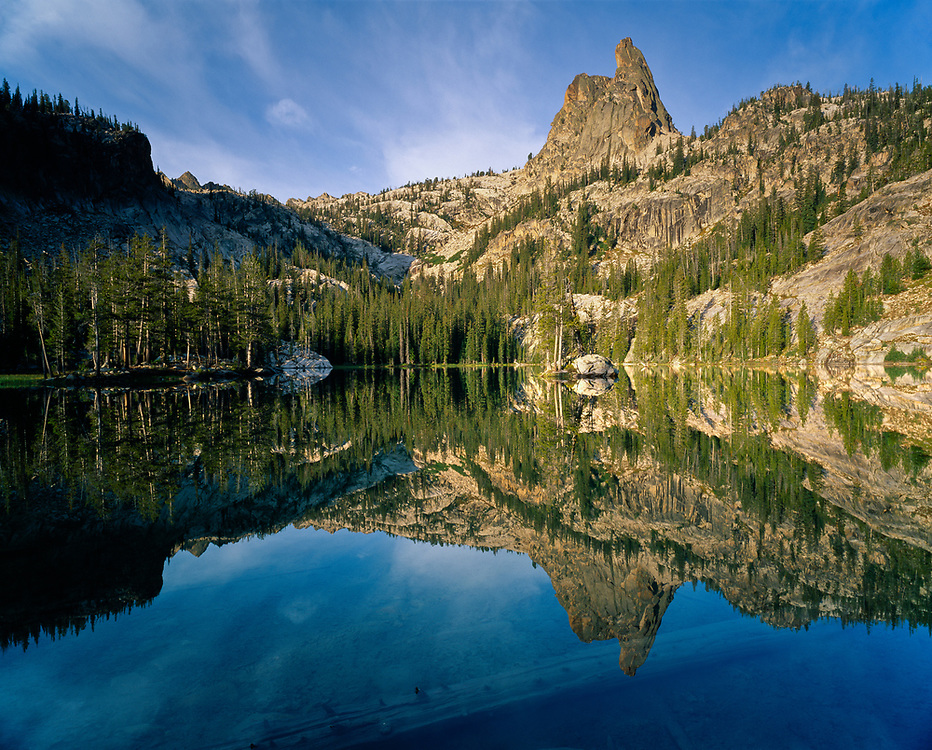 The Finger of Fate at 9757 ft / 2974 meters reflects into Lake Clarice at 8200 ft. on a perfectly calm morning.  Licensing and Open Edition Prints.