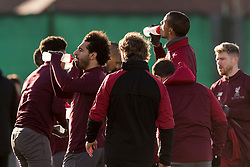 LIVERPOOL, ENGLAND - Monday, February 18, 2019: Liverpool's Mohamed Salah takes a drinks break during a training session at Melwood ahead of the UEFA Champions League Round of 16 1st Leg match between Liverpool FC and FC Bayern München. (Pic by Paul Greenwood/Propaganda)