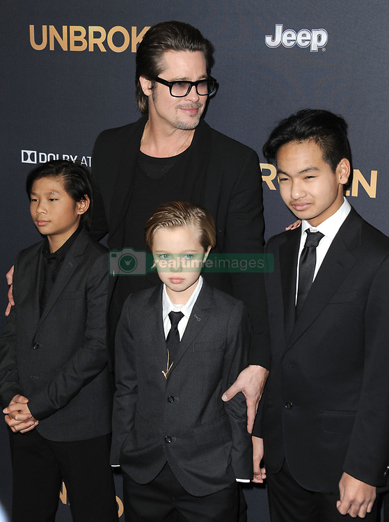 Dec. 15, 2014 - Los Angeles, California, U.S. - Brad Pitt, Pax Thien Jolie-Pitt, Shiloh Nouvel Jolie-Pitt, Maddox Jolie-Pitt attending the Los Angeles Premiere of ''Unbroken'' held at the Dolby Theatre in Hollywood, California on December 15, 2014. 2014(Credit Image: © D. Long/ZUMA Wire)