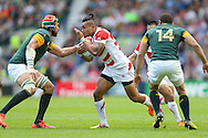 Japan's Centre Male Sau with the ball during the Rugby World Cup Pool B match between South Africa and Japan at the Community Stadium, Brighton and Hove, England on 19 September 2015. Photo by Phil Duncan.