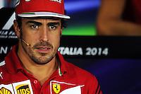 Fernando Alonso (ESP) Ferrari in the FIA Press Conference.<br /> Italian Grand Prix, Thursday 4th September 2014. Monza Italy.