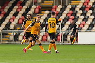 GOAL 1-0 Newport County's Scott Twine (19) celebrates scoring his side's first goal during the EFL Sky Bet League 2 match between Newport County and Oldham Athletic at Rodney Parade, Newport, Wales on 19 December 2020.