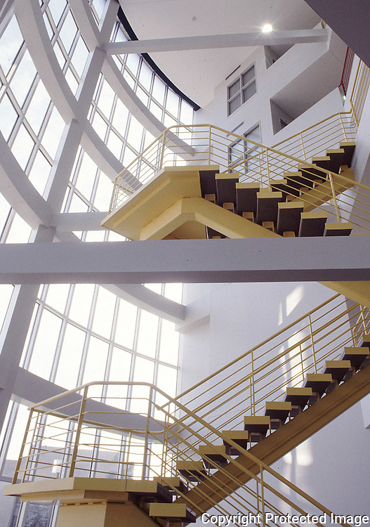Stair case at University of Akron Polymer building Cleveland Architect Photography Ohio architectural photographer