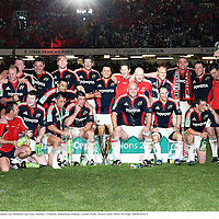 24 May 2008; The Munster squad celebrate with the Heineken cup. Heineken Cup Final, Munster v Toulouse, Millennium Stadium, Cardiff, Wales. Picture credit: Oliver McVeigh / SPORTSFILE