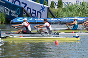 Poznan, POLAND, 21.06.19,  Friday,  CAN1 M2-, <br /> Kai LANGERFELD and Conlin MCCABEat the start, World Rowing Cup II, Malta Lake Course, © Peter SPURRIER/Inter, sport Images, <br /> <br /> 10:30:02