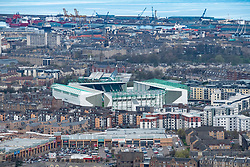 View across Edinburgh towards Easter Road Stadium, home of Hibernian Football. Club, Edinburgh, Scotland, UK