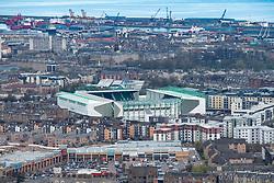 View across Edinburgh towards Easter Road Stadium, home of Hibernian Football. Club, Edinburgh, Scotland, UK
