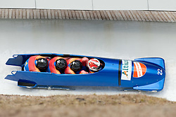 04.12.2011, Eiskanal, Igls, AUT, Viessmann FIBT Bob und Skeleton Weltcup, vierer Bob Herren, 1. Durchgang, im Bild Bob ROU 1 mit Nicolae Istrate, Emilian Peptea, Bogdan Laurentiu Otava, Florin Cezar Craciun // Bob Romania 1 with Nicolae Istrate, Emilian Peptea, Bogdan Laurentiu Otava, Florin Cezar Craciun during first run four Man Bob at FIBT Viessmann Bobsleigh and Skeleton world cup at Olympic ice canal, Innsbruck Igls, Austria on 2011/12/04. EXPA Pictures © 2011, PhotoCredit: EXPA/ Johann Groder