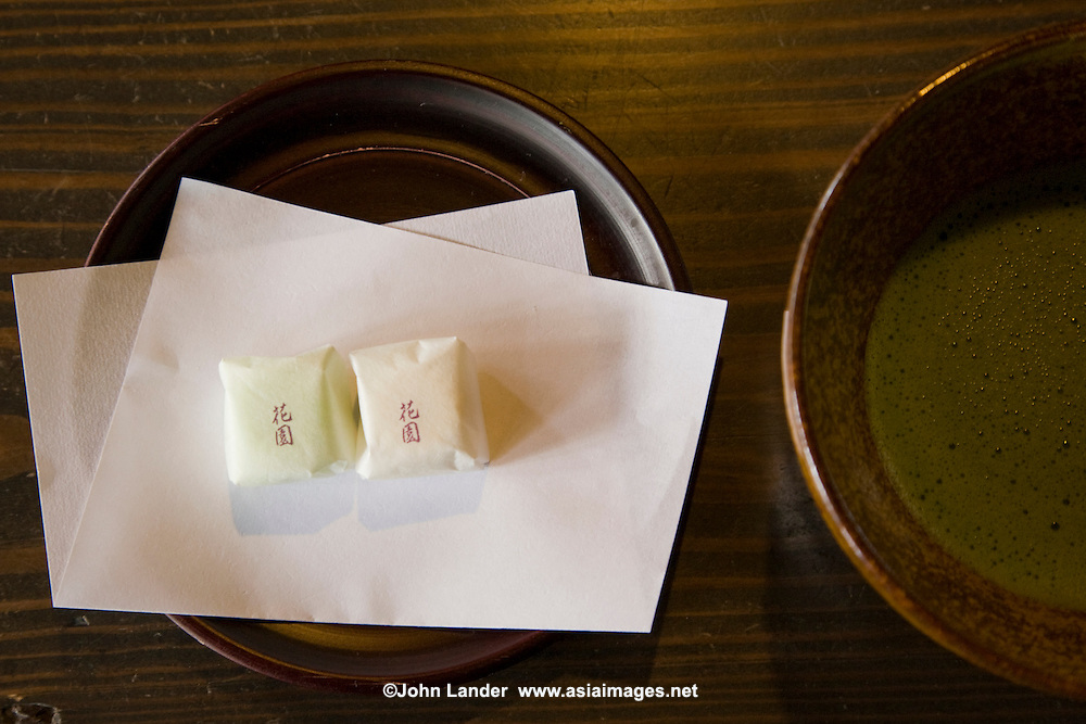 Japanese Sweets and Green Tea - Wagashi are a traditional Japanese confectionery which is often served with tea, especially the types made of mochi, azuki bean paste and fruits.<br /> They are typically made from natural ingredients. The names used for wagashi commonly fit a formula - natural beauty or a word from ancient literature; they are thus often written with uncommon Japanese characters or kanji that most people can't read.