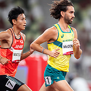TOKYO, JAPAN August 3:   Morgan McDonald of Australia and Hiroki Matsueda of Japan in action during the Men's 5000m round one heat two race at the Olympic Stadium during the Tokyo 2020 Summer Olympic Games on August 3rd, 2021 in Tokyo, Japan. (Photo by Tim Clayton/Corbis via Getty Images)