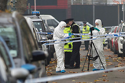 (c) Licensed to London News Pictures. 20/11/2014 Essex, UK. Police investigate a murder at a property in St Anns Road, Southend on Sea. Officers were called about 10.30pm last night. Two men had been stabbed. One was declared dead at the scene and the other remains critical in hospital. Photo credit Simon Ford/LNP