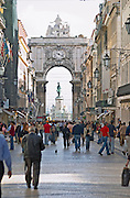Arc de Triomphe baroque style on Praca do Comercio. Street view. Lisbon, Portugal