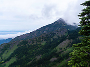 The view from near the Hurricane Ridge site of Olympic National Park, Washington, USA, with the Strait of Juan de Fuca in the background.