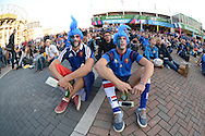 a Pair of fancy dress France supporters watching the South Africa vs Japan match outside Twickenham before k/o.Rugby World Cup 2015 pool D match, France v Italy at Twickenham Stadium in London on Saturday 19th September 2015.<br /> pic by John Patrick Fletcher, Andrew Orchard sports photography.