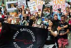 London, May 29th 2107.  Anti-foxhunting protesters march through London to Downing Street following Prime Minister Theresa May's hint that she could allow a Parliamentary debate on the unbanning of the sport.