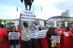 Students and academics voice their opinion during the fees must fall protest outside parliament in Cape Town, Western Cape,  South Africa<br /> <br /> Photo: Masixole Feni